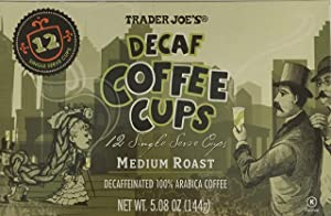 Trader Joe's Decaf 100% Coffee, Medium Roast, 1 Box of 12 Coffee Cups