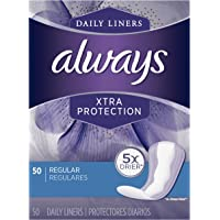 Always Xtra Protection Daily Feminine Panty Liners, Regular, 50 Unidades