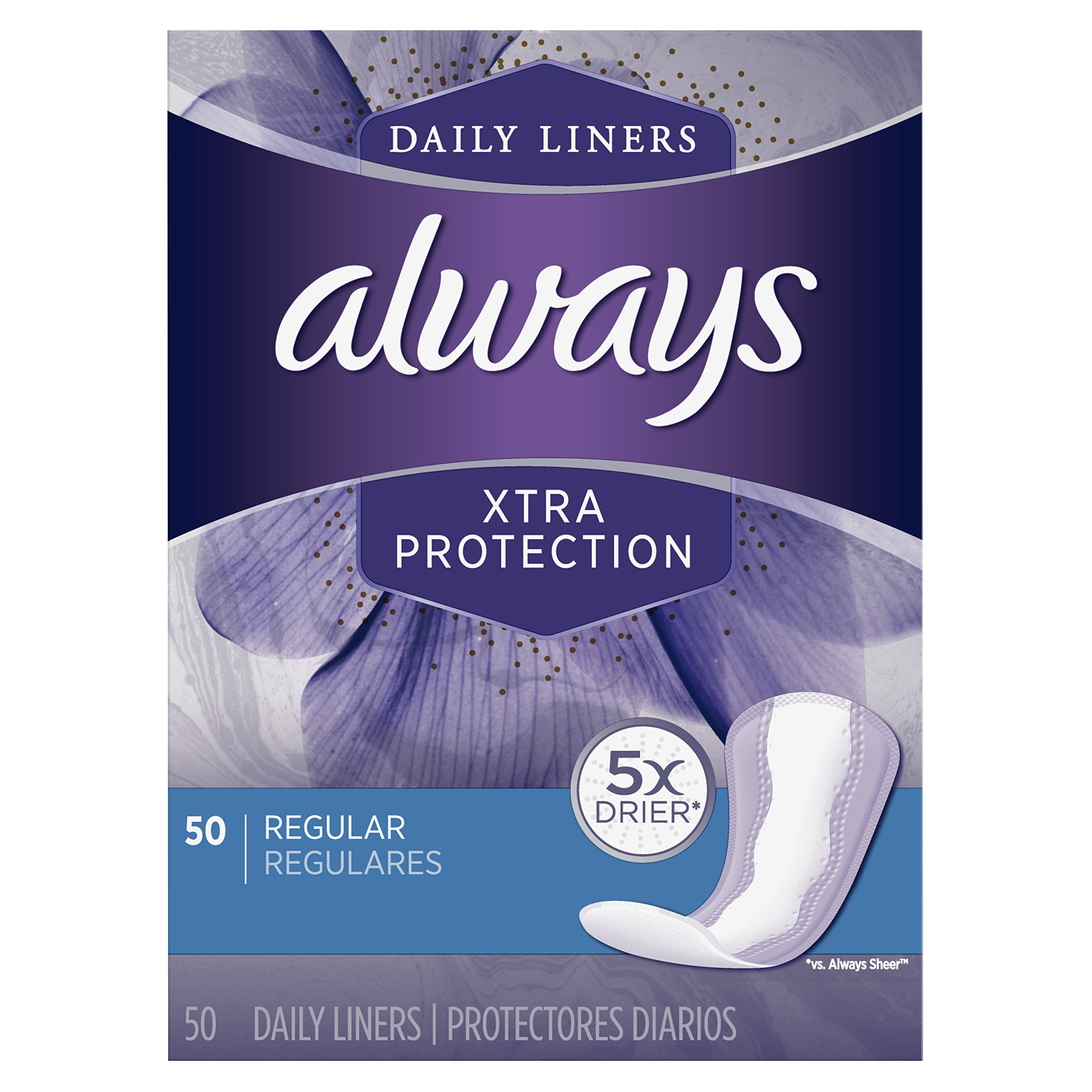 Always Xtra Protection Daily Feminine Panty Liners for Women, Regular,  Unscented, 50 Count - Pack of 6 (300 Total Count) by Always