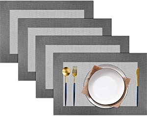 pigchcy Placemats Vinyl Washable Table Mats Elegant Non-Slip Placemats for Dinner Table Set of 4 (Silver)