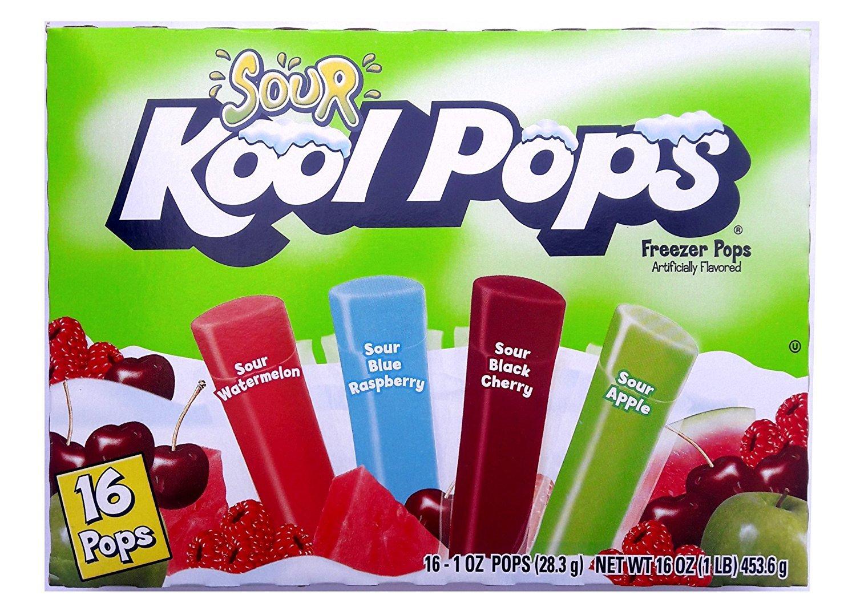 Sour Kool Pops Freezer Pops,(3 packs of 16-1 oz Pops). Sour Watermelon,Sour blue raspberry, Sour black Cherry,Sour Apple The Jel Sert Company
