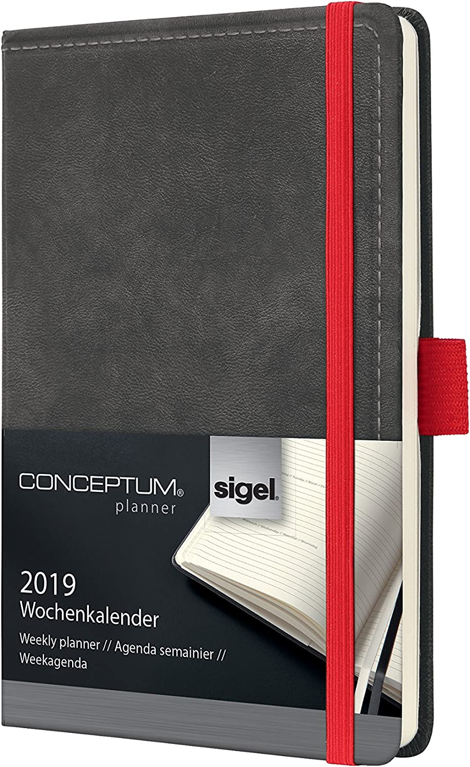 Sigel C1958 Agenda Settimanale 2019, Ca. A6, Hardcover, Vintage, Versione Used Leather Antracite, Conceptum