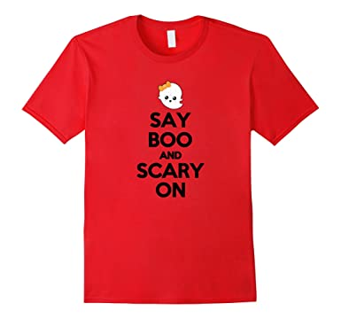 Mens Say Boo And Scary On Halloween Night Funny Ghost Witch Shirt 2XL Red