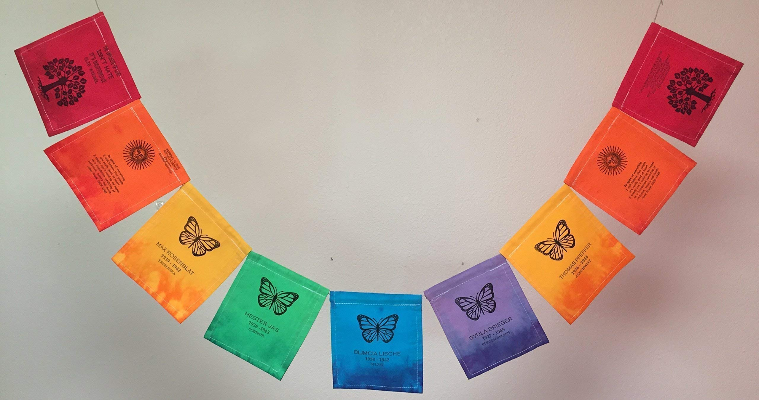 Remembrance Prayer Flag, Children Lost in the Holocaust. All proceeds to families in Juarez.