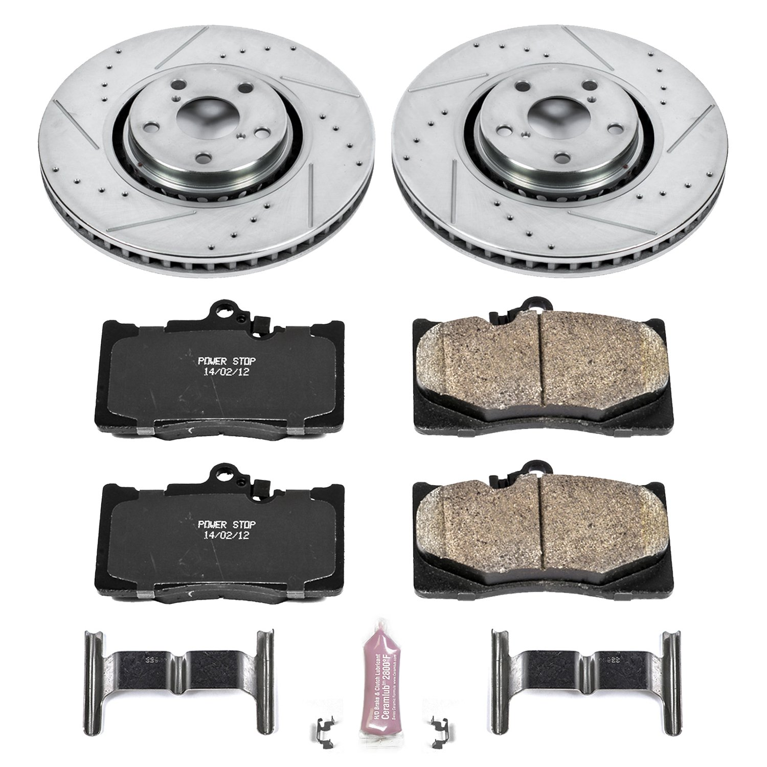 Power Stop K4634 Front Z23 Evolution Brake Kit with Drilled//Slotted Rotors and Ceramic Brake Pads