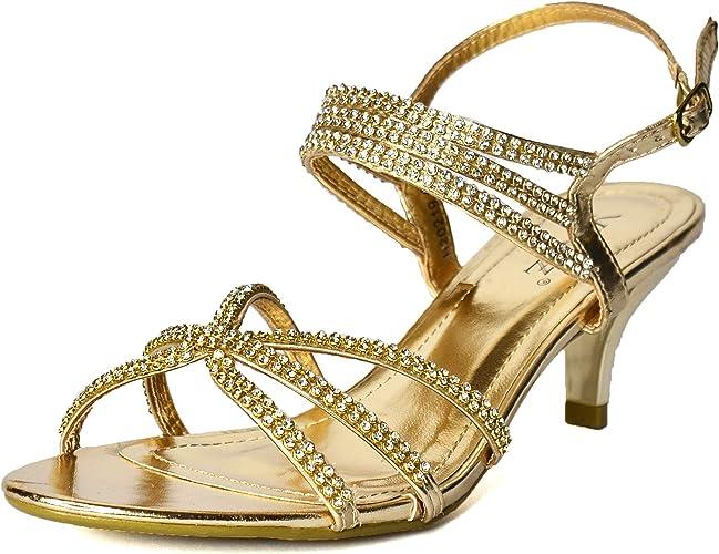 Ladies Navy Blue Satin Diamante Sandals