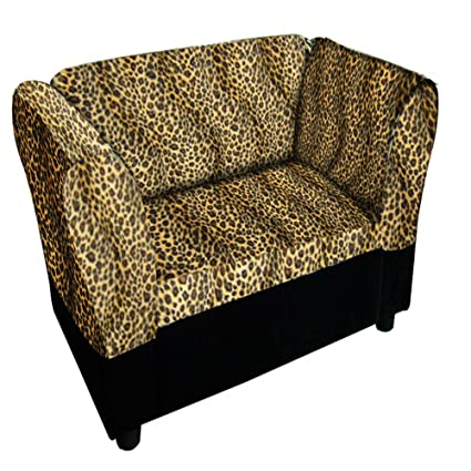 Ore International Leopard Print Sofa Bed With Storage Pet Bed, 16.75u0026quot;