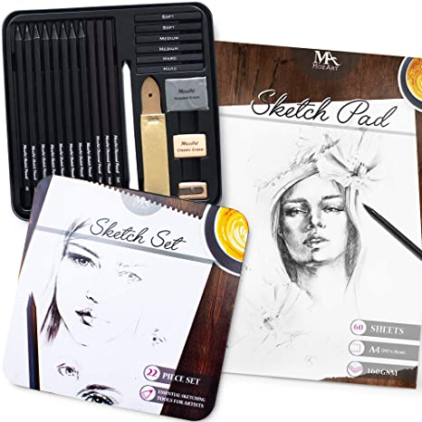 Ritratti Appunti e tanto altro Perfetta per Schizzi MozArt Supplies Blocco da Disegno 160gsm 60 Fogli A4 Disegni Risma di Carta Spessa Liscia e di Qualit/à per Disegnare