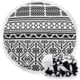 Indian Mandala Microfiber Large Round Beach Blanket with Tassels Ultra Soft Super Water Absorbent Multi-Purpose Towel 59 inch across (NO.8)