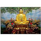 wallpics™ Buddha Wallpapers Fully Waterproof Vinyl Sticker Poster for Living Room,Bedroom,Office,Kids Room,Hall(12X18)