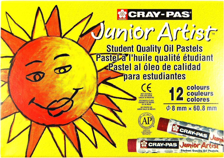 Sakura Cray-Pas Junior Artist Oil Pastels, Assorted Colors, Set of 12