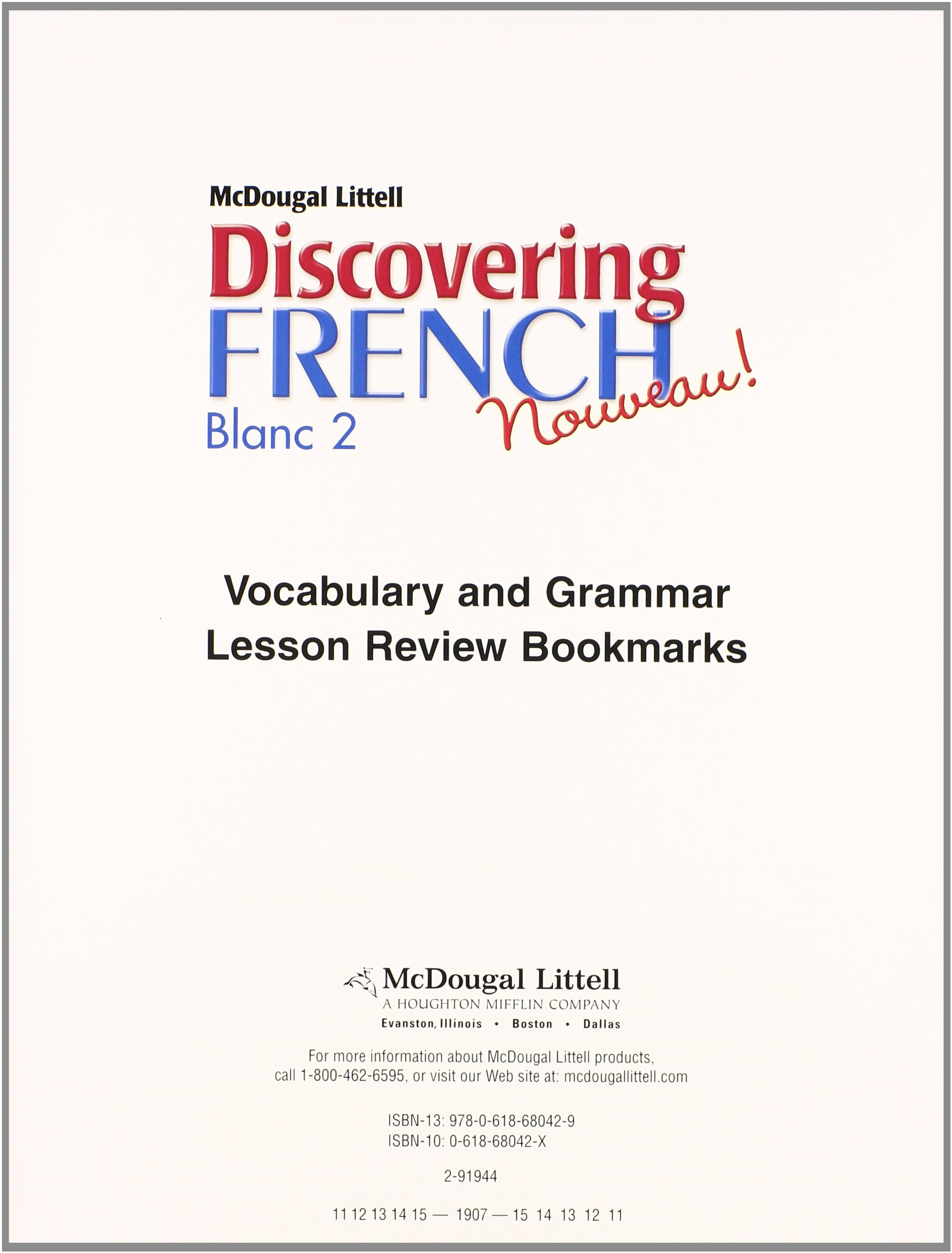Discovering French Nouveau: Workbook Lesson Review Bookmarks Blanc Level 2 (French Edition)