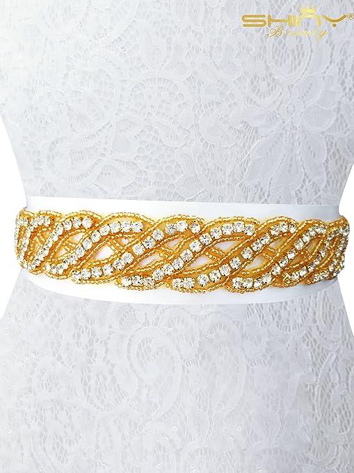 ShinyBeauty RA233 - Cinturón para novia, cinturón de novia con diamantes de imitación para vestido, boda, banda de cristal, dorado, 35cmx3cm
