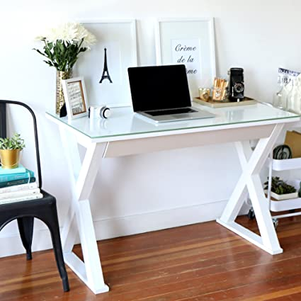 Elegant 48 Inch Wide White Glass, Metal And Wood X Framed Desk