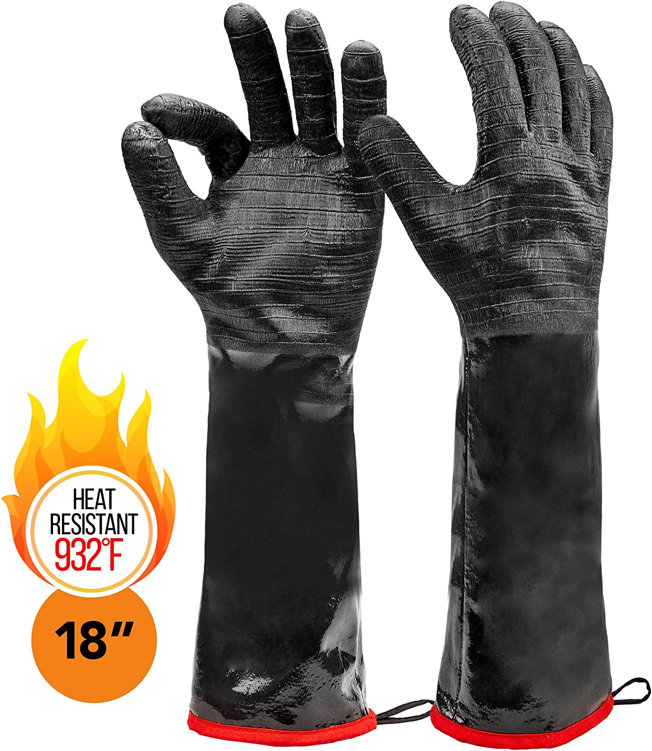 "Heatsistance Heat Resistant BBQ Gloves,Grill Gloves,18"" Long Sleeve, Medium - Textured Grip to Handle Wet, Greasy or Oily Foods - Fire and Food Safe Oven Mitts for Smoker, Grills and Barbecue"