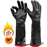 """Heat Resistant BBQ Gloves, Long Sleeve, Textured Grip to Handle Wet, Greasy or Oily Foods Fire and Food Safe Turkey Fryer Oven Mitts for Smoker, Grills and Barbecue (Medium 18"""")"""