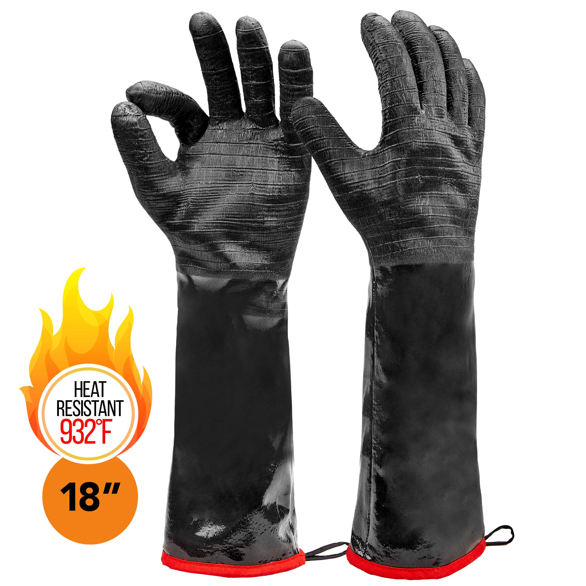 Heatsistance Heat Resistant BBQ Gloves,Grill Gloves,18'' Long Sleeve, Large - Textured Grip to Handle Wet, Greasy or Oily Foods - Fire and Food Safe Oven Mitts for Smoker, Grills and Barbecue by Heatsistance