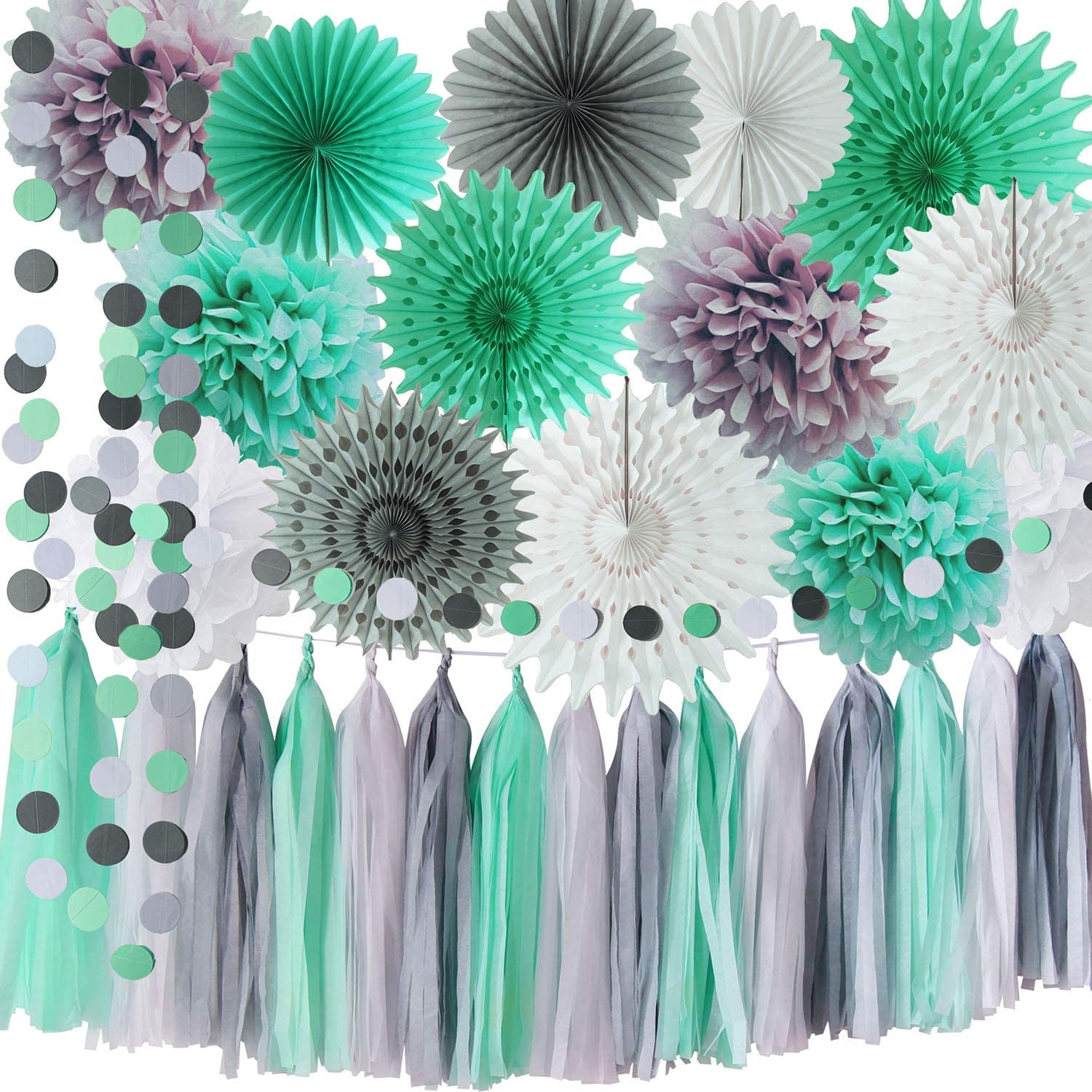 Mint Grey Baby Shower Decorations/Mint Grey White Elephant Baby Shower Supplies Tissue Paper Pom Pom Circle Garland Tassel Garland Mint Bridal Shower Decorations/Mint Grey Birthday Party Decor