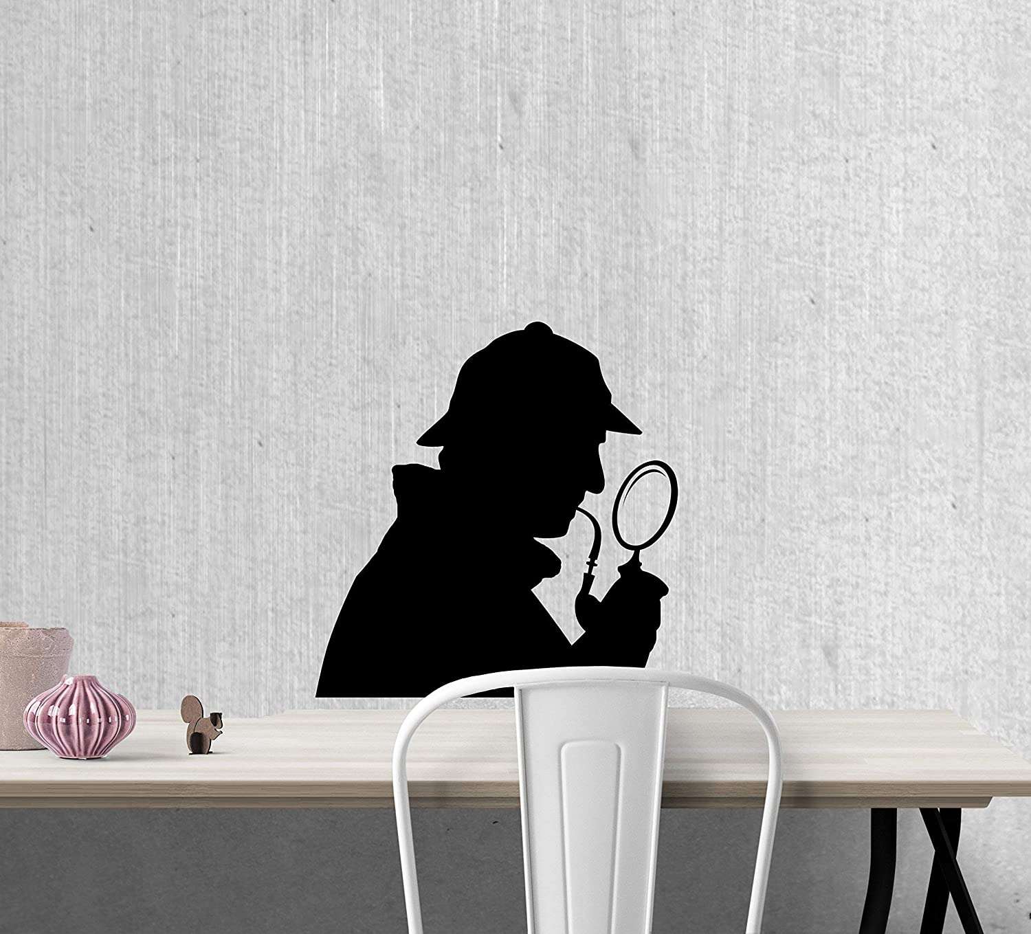 11 Inches Tall Sherlock Holmes Mystery Book Detective Silhouette Wall Decal