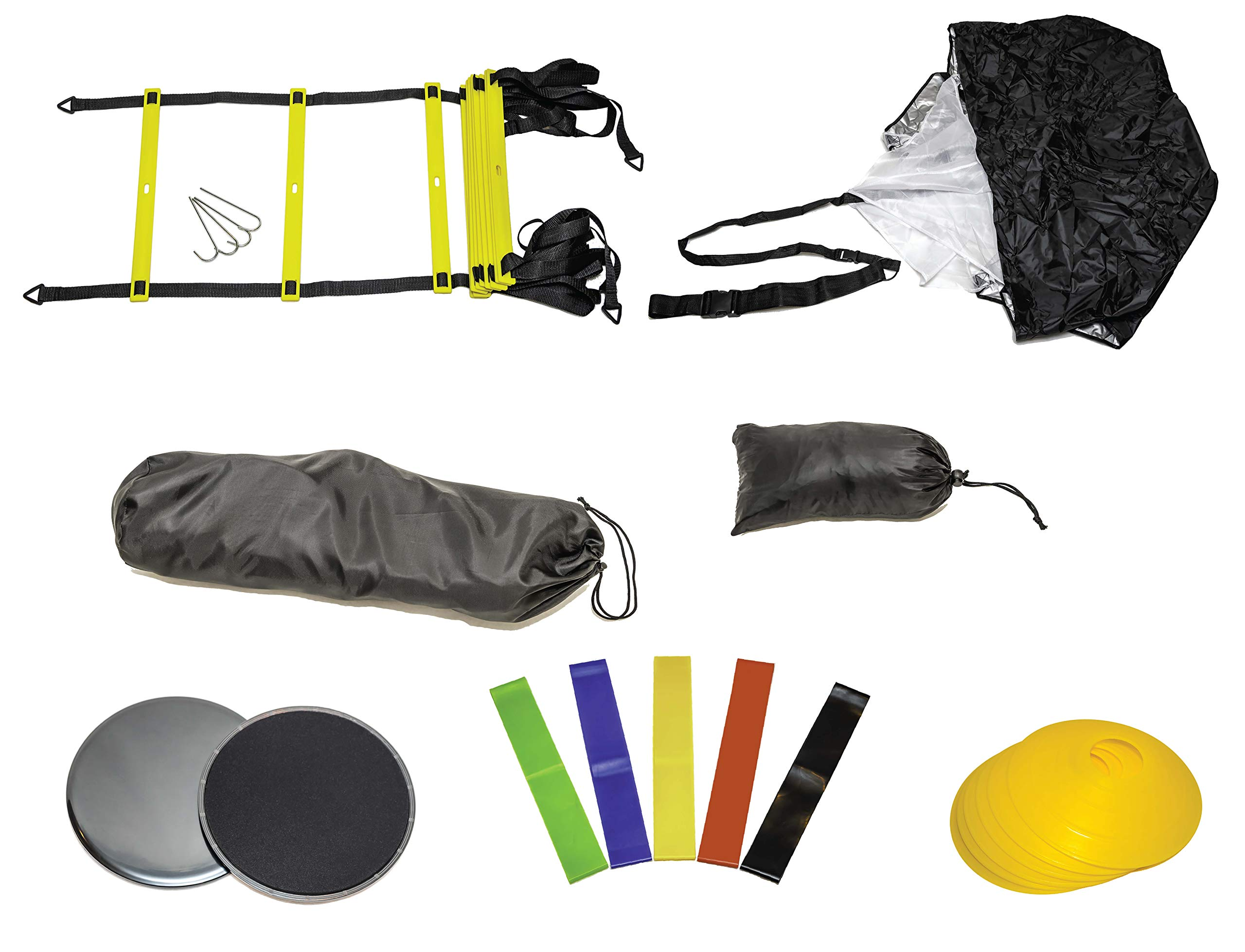 GetupGo Speed Training Kit with eBook-Includes Bag, Agility Ladder, Parachute, Cones, Sliding Discs, Resistance Bands-For Agility, Speed, Strength For Football, Soccer, Basketball, Beachbody, Crossfit