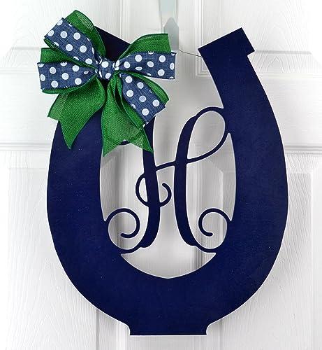 Charmant Kentucky Derby Party Decor | Wooden Horseshoe Monogram Door Hanger | Navy  Blue Emerald Green
