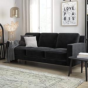DHP Brynn Loveseat Seater Upholstered, Living Room Furniture, Velvet Sofa, Black