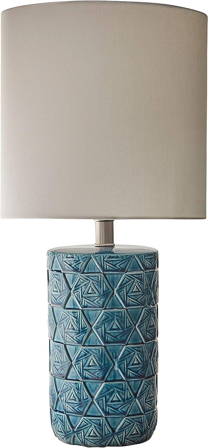 Amazon Brand Rivet Geometric Ceramic Living Room Table Desk Lamp 22 75 Blue