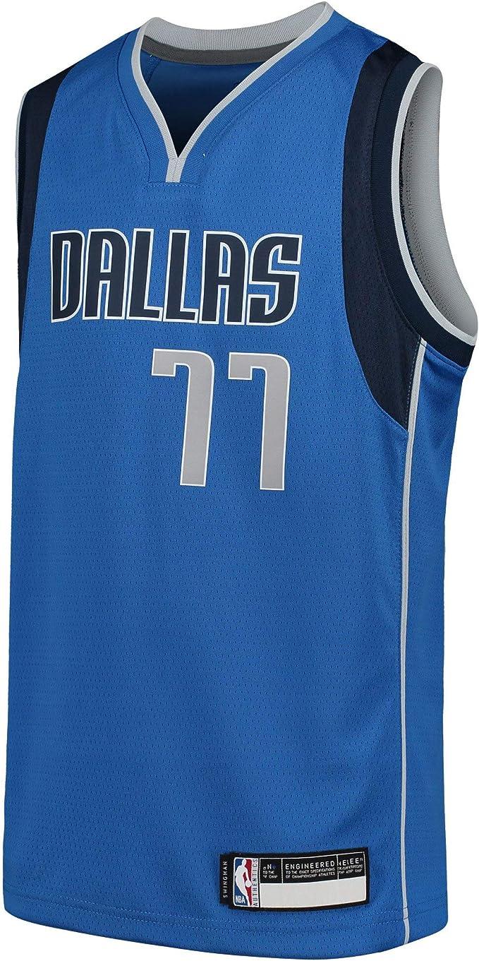 Camisetas de baloncesto para ni/ños Luka Dallas NO.77 Navy.Mavericks Doncic Youth 2019//20 Fast Break r/éplica del jugador del equipo camiseta repetible de limpieza uniforme edici/ón