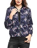 Zeagoo Damen Blumen Bomberjacke Gepolstert mit Reißverschhluss Kurz Jacke mit Stehkragen