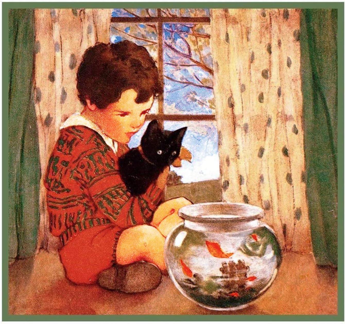 Jessie Willcox Smith Child Kitten Goldfish Bowl Count Cross Stitch Chart Pattern