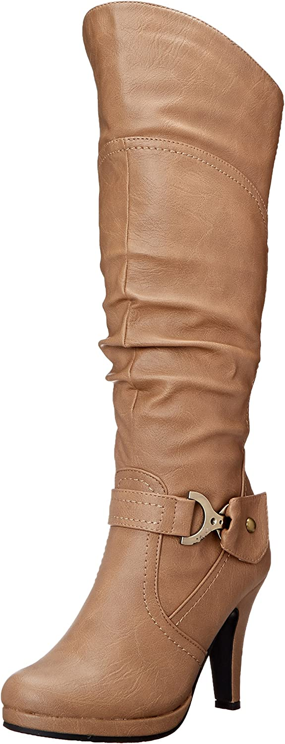 TOP Moda Women's Knee Lace-up High Heel Boots