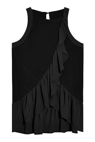 next Mujer Top Camiseta Blusa Sin Mangas Adorno De Volantes Estampada Cuello Redondo