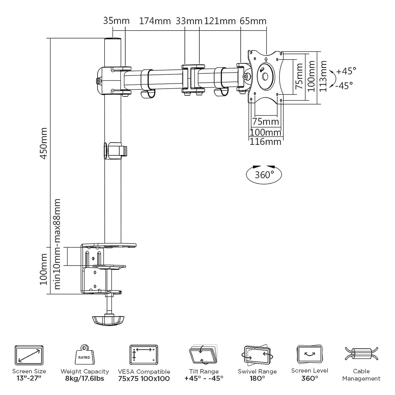 Savonga Monitor Tischhalterung für 17 21 24 27 Zoll LCD LED Monitore on