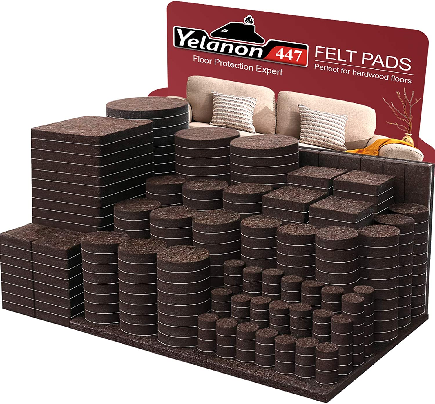 Yelanon Furniture Pads 447 Pieces - Self Adhesive Felt Pad Brown Felt Furniture Pads Anti Scratch Floor Protectors for Chair Legs Feet for Protect Hardwood Tile Wood Floor & Laminate Flooring