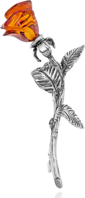 Copal Joya Broche con Ámbar Rosa, plata de ley 925, con con una bolsa de joyas, idea regalo
