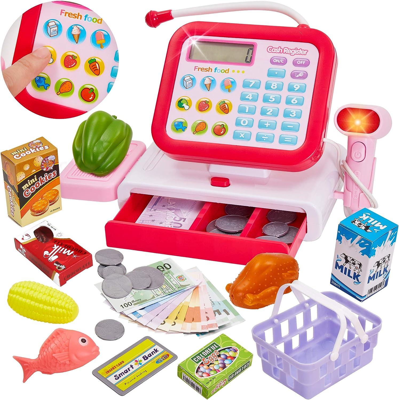 HERSITY Caja Registradora Juguete con Sonido Supermercado Infantil Alimentos de Juguete Juego de Imitacion para Niños (Rojo): Amazon.es: Juguetes y juegos