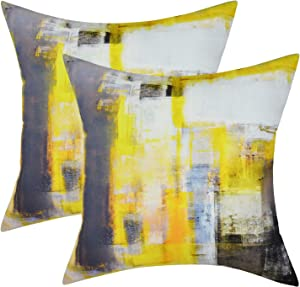 Yastouay 2 Pack Yellow Decorative Throw Pillow Covers 20 x 20 inch Yellow and Grey Pillow Case Abstract Couch Pillow Covers Home Decor Cushion Cases for Living Room Sofa Bedroom