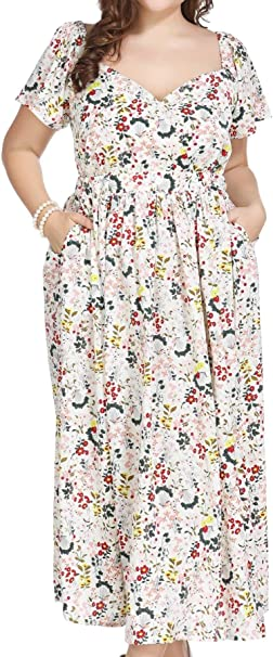 Plus Size Women Floral Print Wrap Maxi Dress with Pockets for Summer Casual  Party Vacation Beach