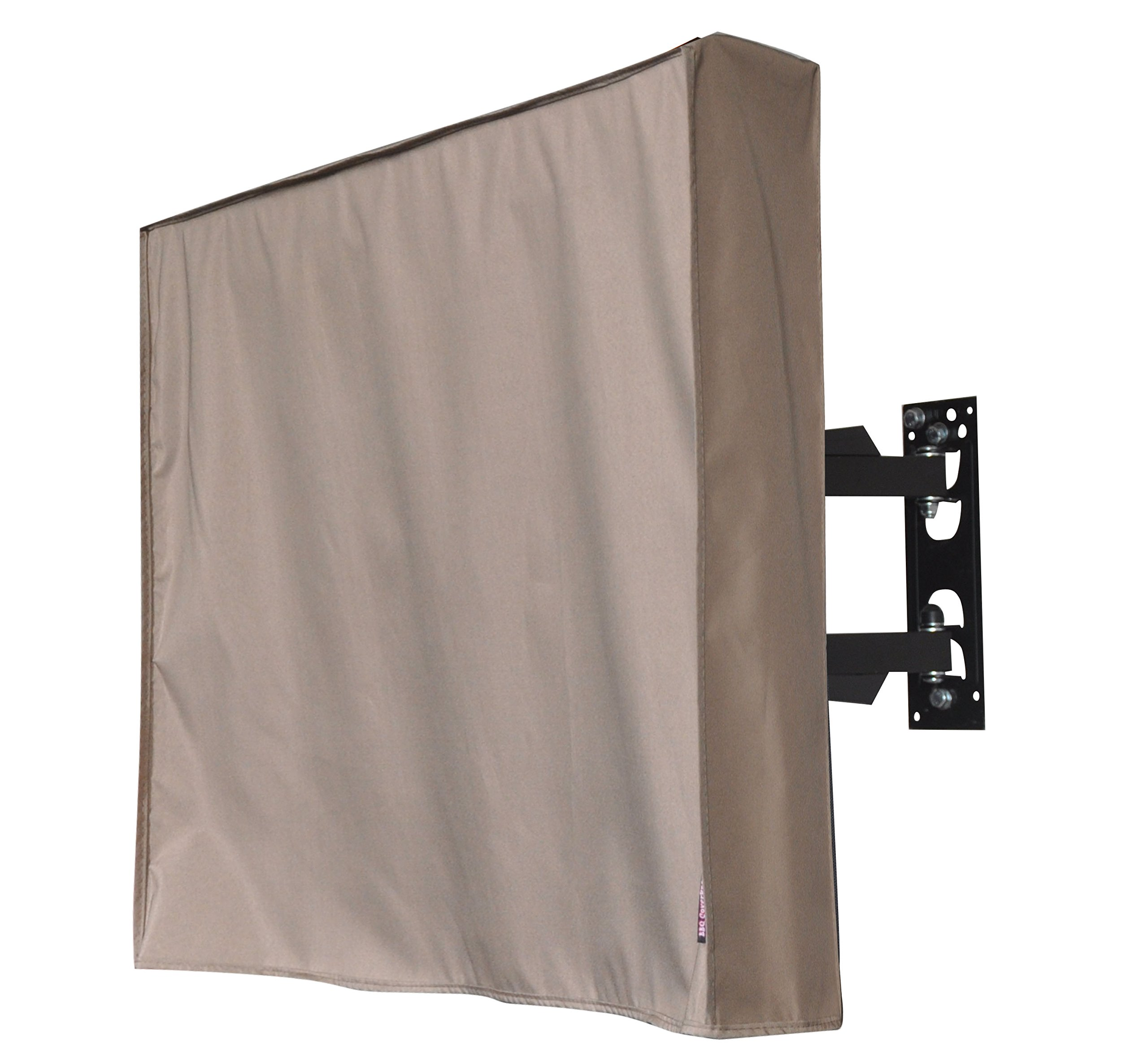 Outdoor 72''TV Cover, Brown Weatherproof Universal Protector for 72'' LCD, LED, Plasma Television Sets - Compatible with Standard Mounts and Stands. Built In Remote Controller Storage Pocket