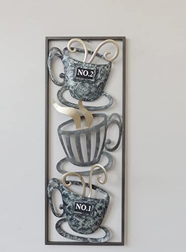 All American Collection New Modern Chic Aluminum Metal Wall Decor Frame 12 x30 Tea Time