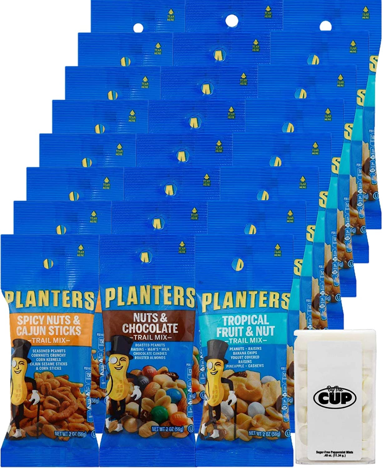 Planters Peanuts Trail Mix Individual Packs Variety, 24 - 2 Ounce Bags, 8 of Each Cajun, Chocolate, and Tropical with By The Cup Mints