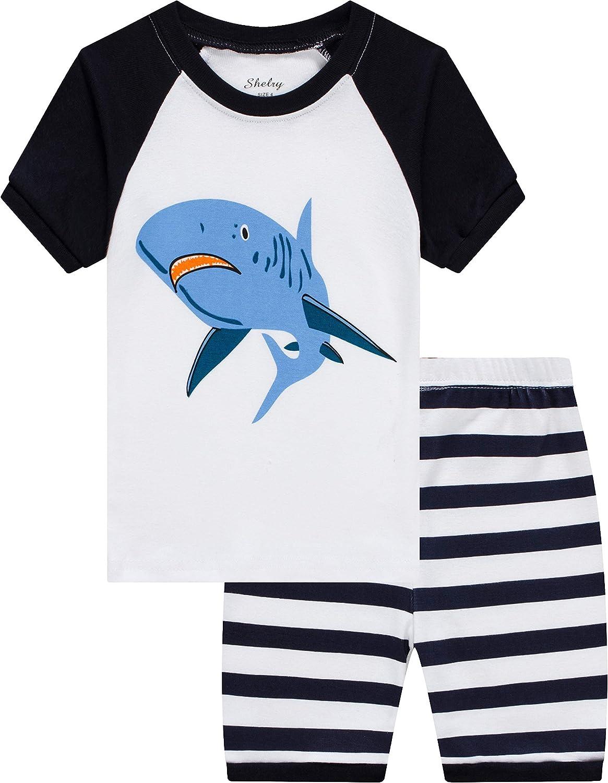 shelry Boys Dinosaur Pajamas Children Summer Clothes 100/% Cotton Kids Sleepwear