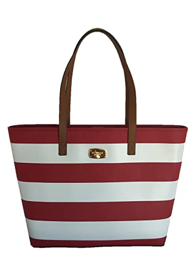 59a27b199004 Michael Kors Medium Jet Set Travel Stripe Tote Red/White: Handbags:  Amazon.com