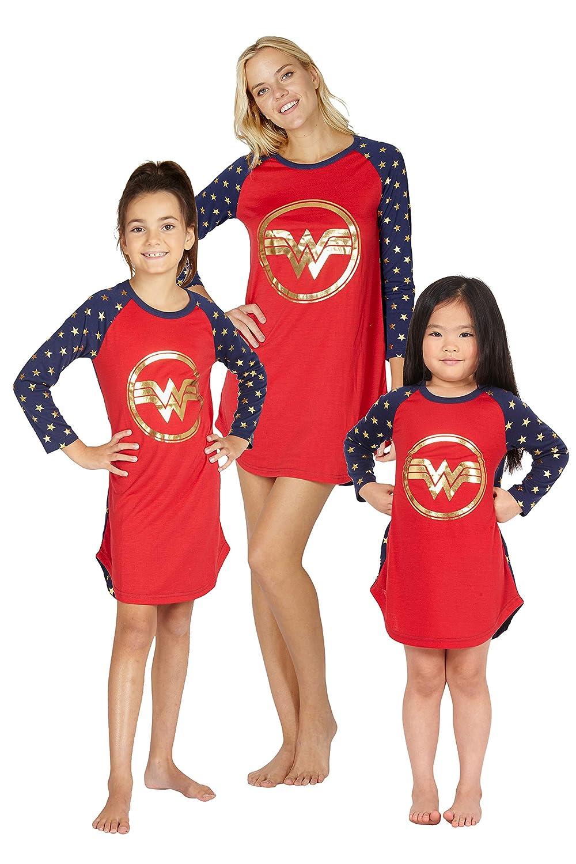 74cf97ea9f6ca INTIMO Wonder Woman Costume Girls' Gold Logo Raglan Nightgown Pajama Sleep  Shirt