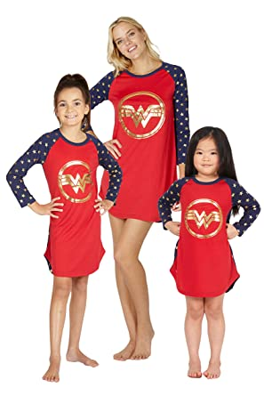 104c58020a Intimo Wonder Woman Costume Girls  Gold Logo Raglan Nightgown Pajama Sleep  Shirt ...
