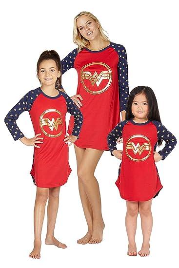 intimo Wonder Woman Disfraz niñas Logotipo Oro Raglan Camisón ...