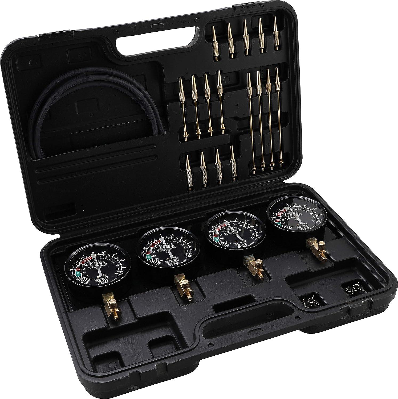 26 piezas con 4 man/ómetros Juego de comprobadores de carburador Kraftmann 962670