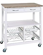 Haku Mueble-carrito de cocina en MDF blanco