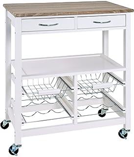 Küchenwagen metall  Küchenwagen 2S weiß Metall Eiche Holz Küchentrolley Schublade ...