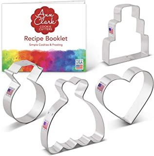product image for Ann Clark Cookie Cutters 4-Piece Wedding Cookie Cutter Set with Recipe Booklet, Wedding Dress, Wedding Cake, Diamond Ring and Heart